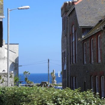 A view of Mounts Bay from a Penzance street